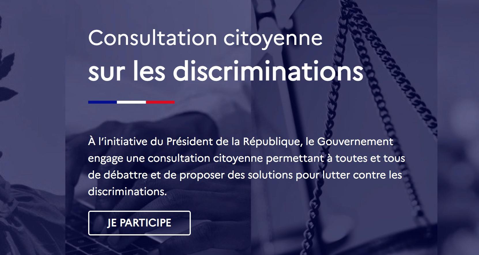 Lancement d'une consultation citoyenne sur les discriminations