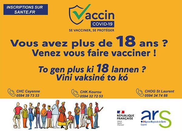 Guyane : La vaccination contre le Covid-19 possible à partir de 18 ans